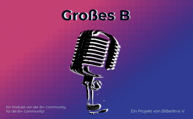 Großes B - stilisiertes Mikrofon vor rot-blauem Hintergrund